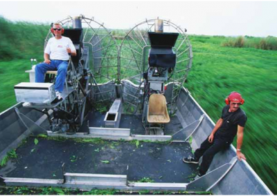 AIRBOAT IN SWAMP