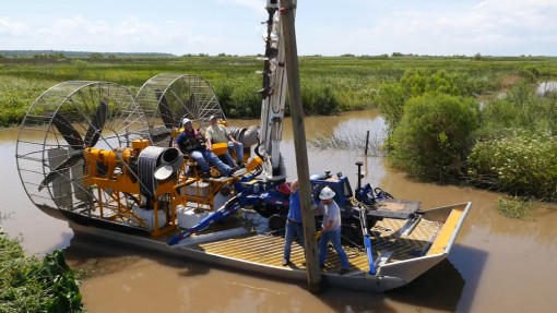 MTT Turbine Powered Airboats for Sensitive Wetland Work – MTT Turbine Airboat Rigged with Tools, Safety Gear, Utility Pole and Mini-Derrick Driller – http://marineturbine.com/turbine-powered-workboats/