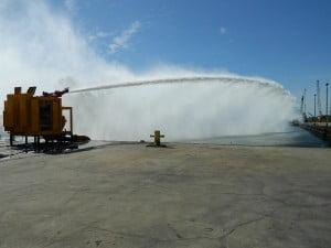 MTT Flood Control and FiFi Fire Fighting with Turbines – MTT FiFi Package at 16,000 GPM on MTT's Dock - www.marineturbine.com