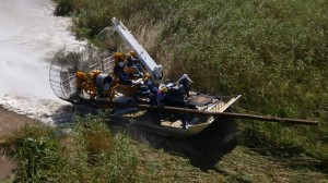 MTT Turbine Powered Airboats for Sensitive Wetland Work – MTT Turbine Airboat Exiting Water and Driving on Dry Land - www.marineturbine.com