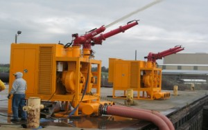 MTT Flood Control and FiFi Fire Fighting with Turbines – MTT FiFi Package at 32,000 GPM on MTT's Dock - www.marineturbine.com