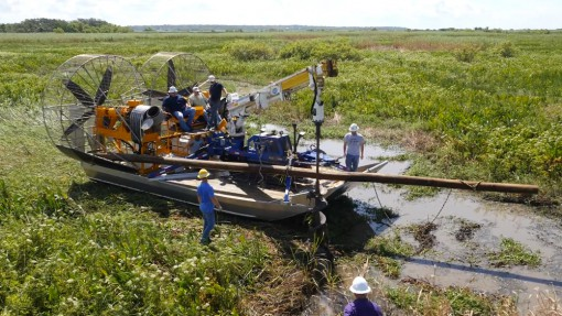 MTT Turbine Powered Airboats for Sensitive Wetland Work – MTT Turbine Airboat with Drill Rig on Dry Land – http://marineturbine.com/turbine-powered-workboats/